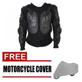 Pro Biker Motorcycle Full Body Protective Armor Jacket Spine ChestShoulder Riding Gear (Black)#29262 with free wawawei Electric carsbicycle Motorcycle Cover Thicken (Gray)