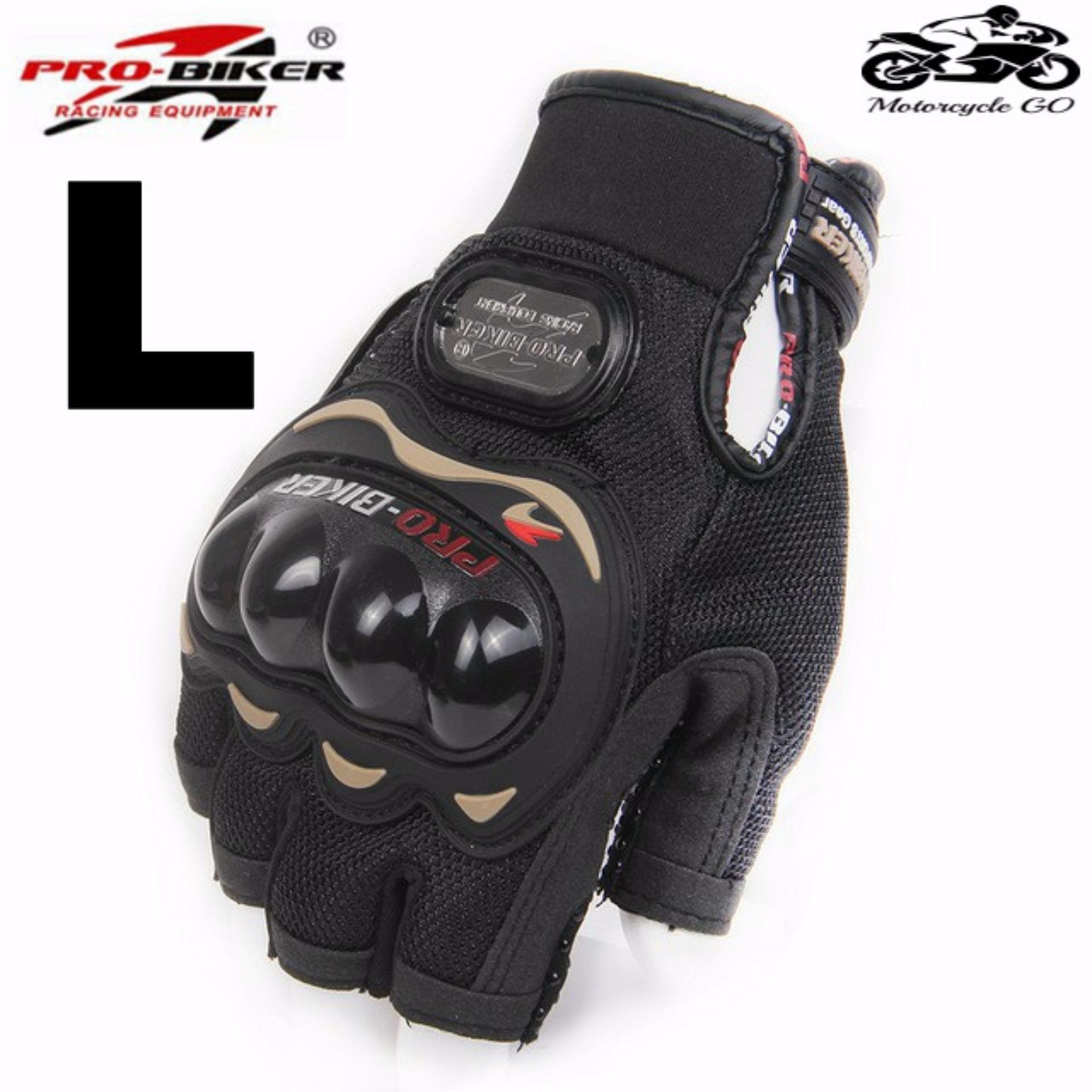 PRO BIKER Sports Racing Short Gloves Motorcycle Motorbike Fingerless Outdoor L Black