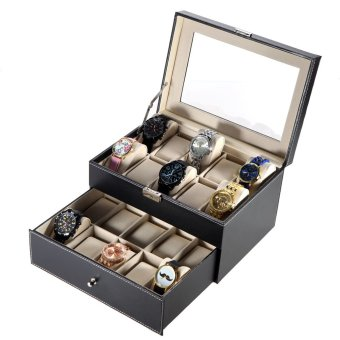 PU Leather Double-layer 20 Grid Watch Display Box Case Glass TopJewelry Storage Organizer Holder with Pillows - 4