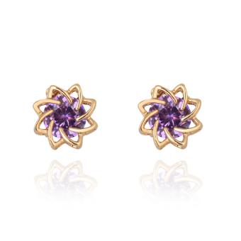 Purple Crystal Lotus Flower Earring Woman Ear Stud 18K Gold Filled (Intl)