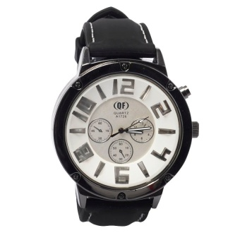 QF 1056 New Men's Military Style With Three Sub-Dial Design Rubber Band Watch (White) #0127