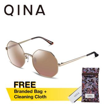 QINA Polarized Unisex Light Gold Sunglasses UV 400 Protection Gold Lenses QN3522