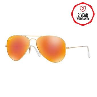 Ray-Ban Sunglasses Aviator Large Metal RB3025 - Matte Gold (112/69)Size 58 Crystal Brown Mirror Orange