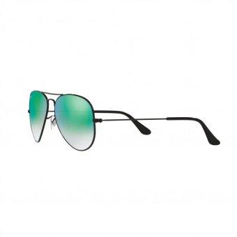 Ray-Ban Sunglasses Aviator Large Metal RB3025 - Shiny Black(002/4J) Size 58 Mirror Gradient Green - 3