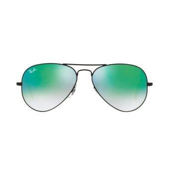 Ray-Ban Sunglasses Aviator Large Metal RB3025 - Shiny Black(002/4J) Size 58 Mirror Gradient Green - 2