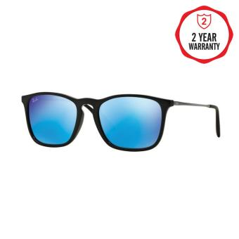Ray-Ban Sunglasses Chris (F) RB4187F - Shiny Black (601/55) Size 54Light Green Mirror Blue