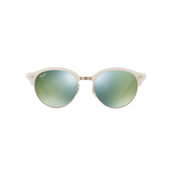 Ray-Ban Sunglasses Clubround RB4246 - Top Wrinkled White On White(988/2X) Size 51 Green Mirror Green - 2