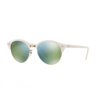 Ray-Ban Sunglasses Clubround RB4246 - Top Wrinkled White On White(988/2X) Size 51 Green Mirror Green