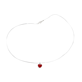Red s925 fresh red female elegant choker sterling silver necklace