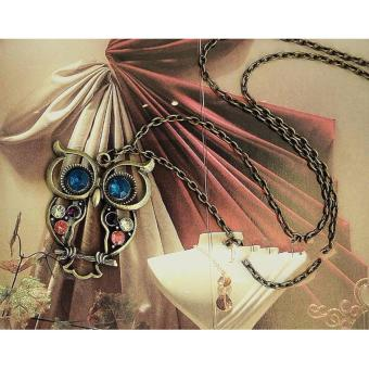 Retro Colorful Rhinestone Owl Pendant and Long Chain Necklace 9g - 3