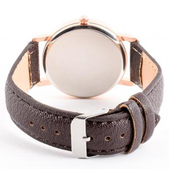 Retro Heart Analog Watch with Synthetic Leather Strap-Brown-Unisex - picture 2