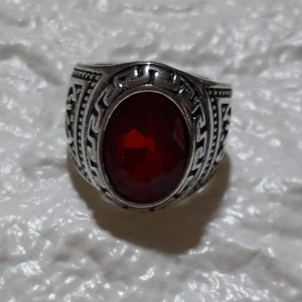 Ring with Charm stone RUBY size 9 hypoallergenic - 3