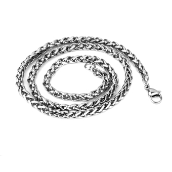 "RIS 4MM 28"" MENS Silver Stainless Steel Wheat Braided Chain Necklace"