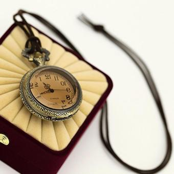 Rising Star Brown Glass Retro Pocket Watch Velvet Rope NecklaceSweater Chain X0363 - 3