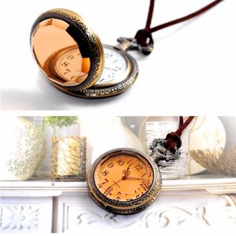 Rising Star Brown Glass Retro Pocket Watch Velvet Rope NecklaceSweater Chain X0363 - 4