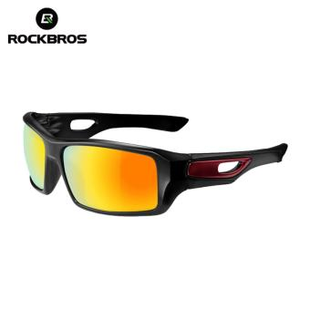 RockBros Cycling Glasses Polarized Sunglasses Outdoor Sport Bicycle Goggles Eye Protector, Black&Dard Red - intl - 3