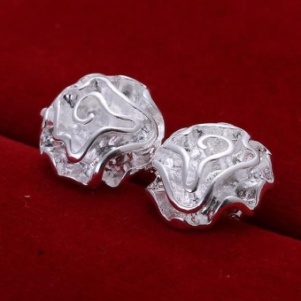 Rose Flower Fashion 925 Silver Plated Women Stud Earrings Eardrop anting - anting Jewelry Romantic Party Wedding Birthday Gift - intl - 3