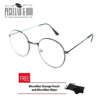 Round Eyeglasses 2944_Brown Replaceable Lens with Thin Metallic Frame Unisex Computer Eyeglasses