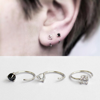 S925 European and American men and women black zirconium ear clip sterling silver zircon stud