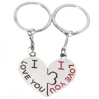 Sanwood Lover Couple Kiss Key Ring Keychain 1 Pair