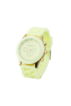 Sanwood Men's Black Silicone Strap Sports Watch Beige - picture 2