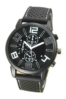 Sanwood Men's White Number Rubber Silicone Stainless Steel Watch