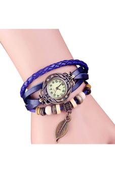 Sanwood New Women's Blue Tree Leaf Leather Bracelet Wrist Watch