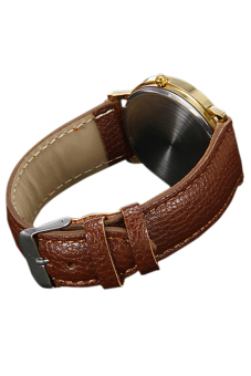 Sanwood Unisex Faux Leather Golden Case Brown Band Wrist Watch - picture 2