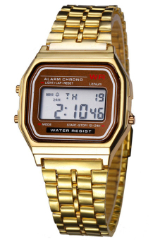 Sanwood Unisex Stainless Steel LCD Digital Sports Watch Golden