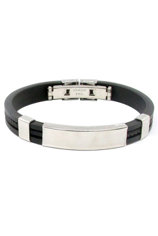 Sanwood Unisex Stainless Steel Rubber Wristband Clasp Black