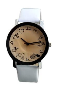Sanwood Women White Faux Leather Band Round Dial Quartz Wrist Watch