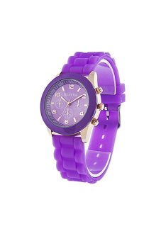 Sanwood Women's Black Silicone Strap Sports Watch Purple - picture 2