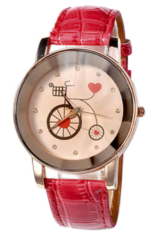 Sanwood Women's Champagne Bike Dial Quartz Wrist Watch Red
