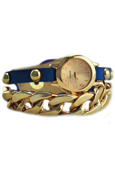 Sanwood Women's Faux Leather Chain Wrist Watch Blue