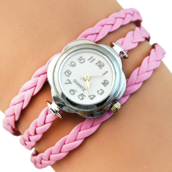 Sanwood Women's Flower Case 3 Layers Braided Wrist Watch Pink