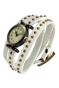 Sanwood Women's White Faux Leather Strap Watch