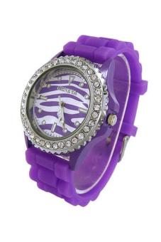 Sanwood Women's Zebra Dial Silicone Jelly Watch Purple