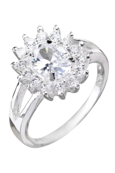 Sanwood Women's Zircon Crystal Sun Flower Silver Plated Ring