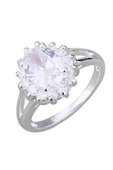 Sanwood Women's Zircon Crystal Sun Flower Silver Plated Ring - picture 2