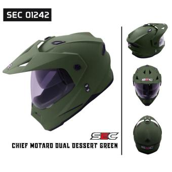 SEC 01242 Chief Motard Dual Dessert Green Helmet (2017 Collection)