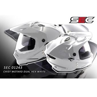 SEC 01243 Chief Motard Dual Hex White Helmet (2017 Collection) - 3