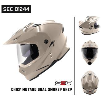 SEC 01244 Chief Motard Dual Smokey Grey Helmet (2017 Collection) - 2