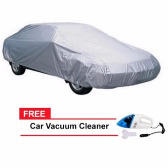 Sedan Car Cover (Grey) with FREE Car Vacuum Cleaner Portable (Pink)