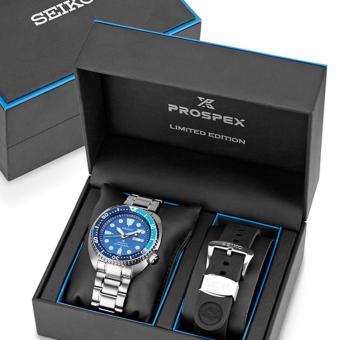 """Seiko Limited Edition """"Blue Lagoon Turtle"""" Prospex Diver's Men's Stainless Steel Strap Watch SRPB11K1"""
