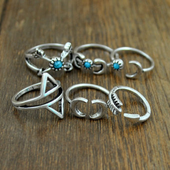 Set 6pc Boho Antique Silver Moon Arrow Scorpion Pattern Ring Band 15-19mm - 2