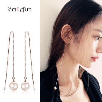 SHININGSTAR European and American exaggerated long hanging earrings pearl earrings