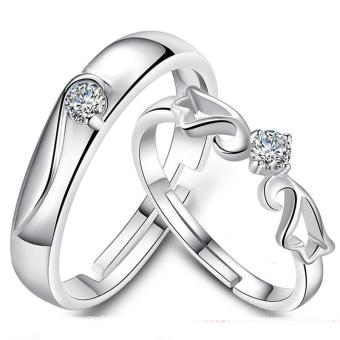 Silver Adjustable Couple Rings Jewelry Affectionate Lovers Rings E009 - 5