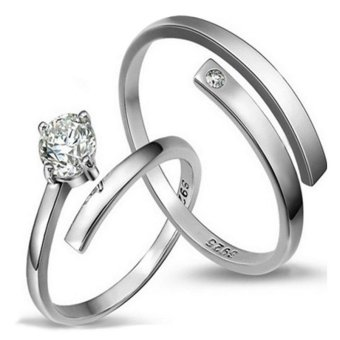 Silver Adjustable Couple Rings Jewelry Affectionate Lovers Rings E012