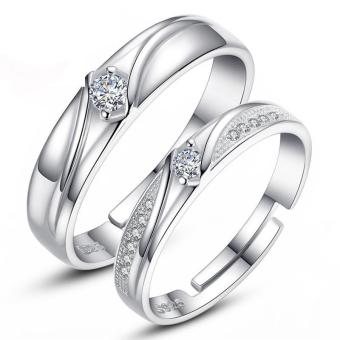 Silver Adjustable Couple Rings Jewelry Affectionate Lovers RingsE018 - intl