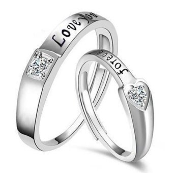 Silver Adjustable Couple Rings Jewelry Affectionate Lovers RingsE025